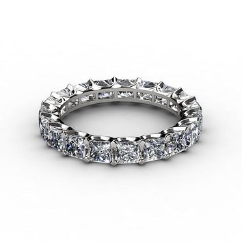 A Perfect 4.58TCW Princess Cut Russian Lab Diamond Full Eternity Ring