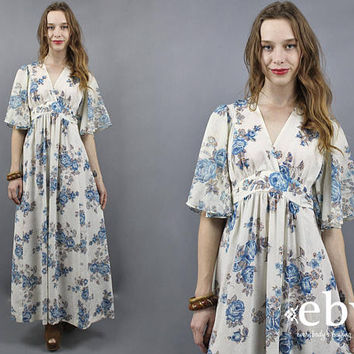Hippie Dress Boho Dress 70s Maxi Dress 1970s Dress 70s Dress Boho Wedding Dress Ethereal Dress Angel Sleeve Dress Bell Sleeve Dress S M