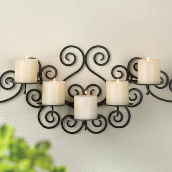 Candle Wall Sconce-5 Pillar Candle Holder Black Wrought Iron
