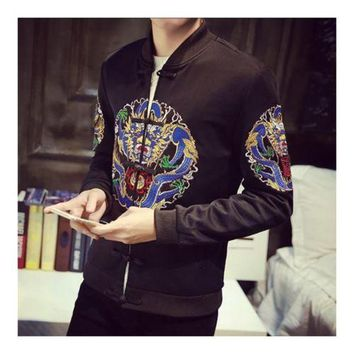 Man Cloth Chinese Style Dragon Embroidery Jacket