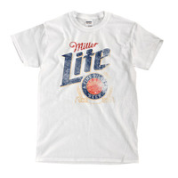 Miller Lite White T-Shirt - High-Quality! Ready to Ship!