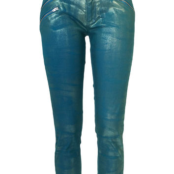 Women's Carine Mid-rise Teal Zippered Foil Jeans by Atelieri