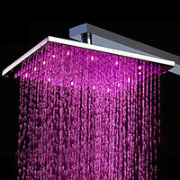 [USD $ 89.99] 10 inch Brass Shower Head with Color Changing LED Light