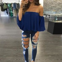 Sexy Off The Shoulder Butterfly Sleeve Women Boho Chiffon Shirts