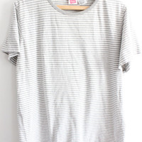 Simple Grey Striped 90s T Shirt