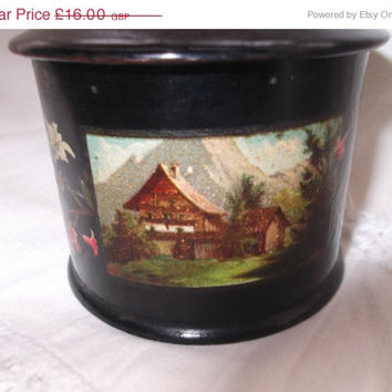 ON SALE Antique Papier Mache Powder Box Pot Black Lacquer box Trinket Box Decorative Item Gift Idea