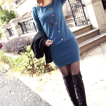 Slim Dress Winter Long Sleeve Knit Cotton One Piece Dress [9377723972]