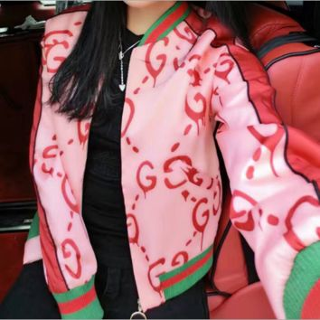 Gucci Leather Long Sleeve Cardigan Jacket Coat