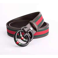 GUCCI 2018 new red and green striped belt double G buckle retro men and women smooth buckle belt black