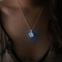 for Women Cheap Jewelry Lady Gift Charm Hollow Box Cute Locket Glow In The Dark Pendant Necklace
