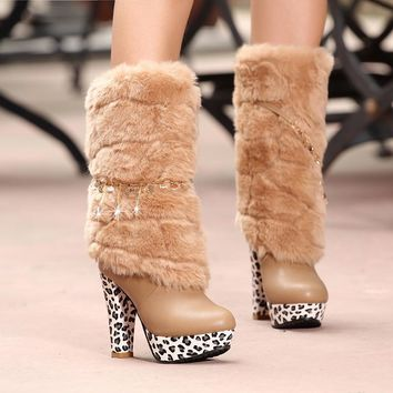 Hot Deal On Sale High Heel Club Sexy Stylish Metal Chain Boots [9432960394]