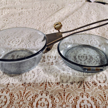 Pyrex-Glass-Vintage-Antique-Frying Pan-Sauce Pot-Set-Kitchen-Stove Ware-Collectible