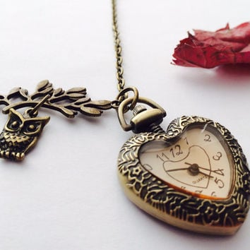 Heart Pendant watch Necklace - Owl - Lead charm