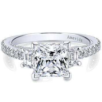 "Gabriel Amavida ""Knight"" Princess Cut Three Stone Diamond Engagement Ring"