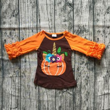orange brown T-shirt unicorn floral top 3/4 ruffle sleeves top raglans thanksgiving Thanksgiving baby girls clothes icing sleeve