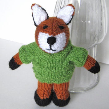 "Hand Knit Fox in Sweater - Stuffed Animal Woodland Forest Nursery - Baby Knit Toy Knit Animal Plush Doll - Red Fox Stuffed Toy 9 1/2"" Tall"