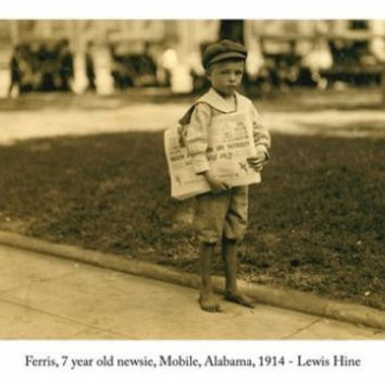 Lewis Hine, Ferris 7 YEAR OLD NEWSIE photo poster MOBILE alabama 1914 24X36