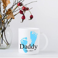 New Dad Father's Day Coffee Mug - First Father's Day Gift - New Daddy Present - Blue Baby Feet - Pink Baby Feet - Keepsake Mug