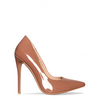 Imani Cocoa Patent Stiletto Court Shoes : Simmi Shoes