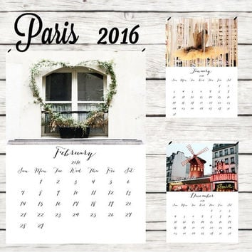 2016 calendar 2016 wall calendar Paris calendar christmas gifts Paris desk calendar 2016 A4 calendar 2016 photo calendar 5x7 8x11