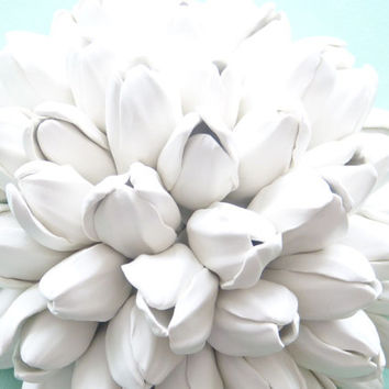 Tulip Bouquet Wall Sculpture - White Tulips