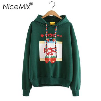 NiceMix 2018 Harajuku Sweatshirt Women Hoodies Kawaii Japanese style Tops Print Strawberry Loose Female Hooded Pullovers