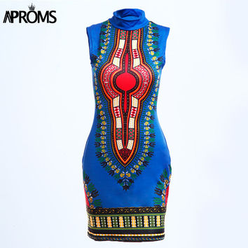 Aproms Boho Summer Dress Women Traditional African Tribal Print Dashiki Dresses Sexy Turtleneck Bodycon Club Party Dress
