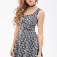 FOREVER 21 Tweed Fit & Flare Dress Black/Cream