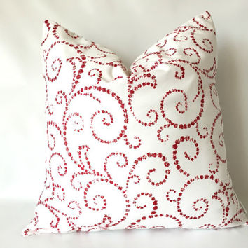 Christmas Pillow Cover - One, 18 x 18, Red White Pillows, Red Swirl Pillows, Elegant Christmas Decor, Christmas Pillows, Lipstick Red Pillow