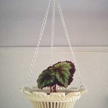 Vintage 60's Hanging Planter White Scroll Design Small Plant Pot
