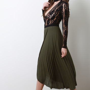 Pleated Chiffon Tulip Maxi Skirt