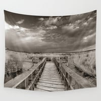Stormy weather at the lake. Vintage Wall Tapestry by Guido Montañés