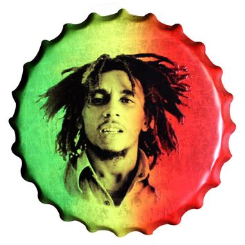 Bob Marley Bottle Cap Wall Art - Rasta Tin Sign