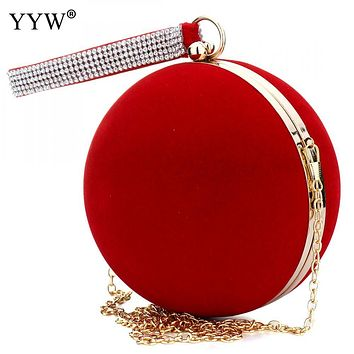 YYW Unique Velvet Iron-On Lady Handbag Red Shoulder Clutch Bag Spherical Evening Bag Small Purse Chain Shoulder Bolsos Mujer