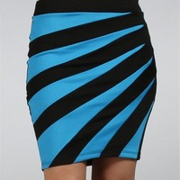 Royal Blue/Black Zig Zag Color Block Skirt