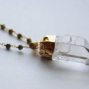 Crystal Quartz Necklace in Gold,  Pyrite Beaded Necklace, Boho Chic Jewelry, Bohemian Jewelry