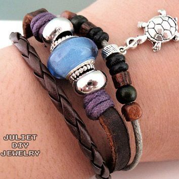 Silver turtle charm leather bracelet