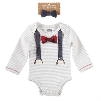 MUD PIE PLAID BOW TIE CRAWLER