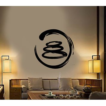 Vinyl Wall Decal Enso Circle Yoga Meditation Room Stickers (3295ig)