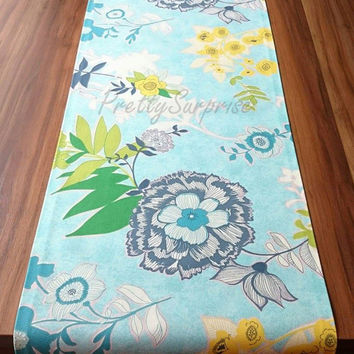 New!! Blue Floral Table Runner,Decorative Table Runner, Pastel Table Cover,Handmade Table Runner, Spring Table Decor, Dining Table Runner