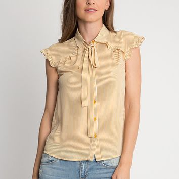 My Fair Lady Striped Button Up Blouse In Yellow | Ruche