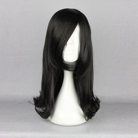 Black Straight Elegant Cosplay Costume Wig Synthetic Fiber High-Temperature Lady