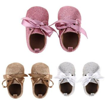 DCK7YE Baby Girl Shoes Glitter First Walkers Soft Sole Lace Up