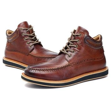 Men Cow Leather Brogue Pattern Casual Boots