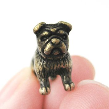 Fake Gauge Earrings: Realistic Bulldog Puppy Dog Animal Stud Earrings in Brass