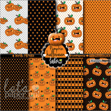 Digital paper, Pumpkin Halloween, Kawaii Halloween, Instant Download, Scrapbook supplies, Printable, Background Autumn, Paper Pumpkin, DIY