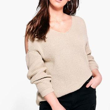 Plus Belle V Neck Cold Shoulder Jumper | Boohoo