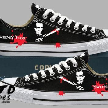 CREYONB Hand Painted Converse Lo Sneakers. Sweeney Todd. The Barber. Handpainted shoes.