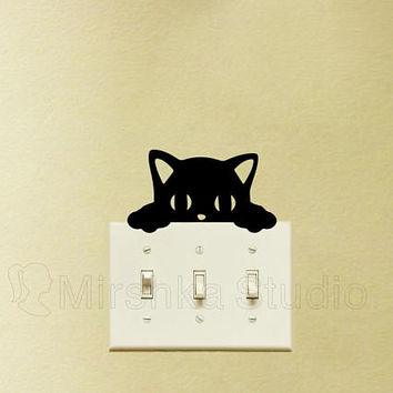 Cute Cat Light Switch Decal - Peeking Cat Sticker - Kids Room Wall Decor - Gifts For Cat Lovers - Cat Decor - Window Sticker - Window Art
