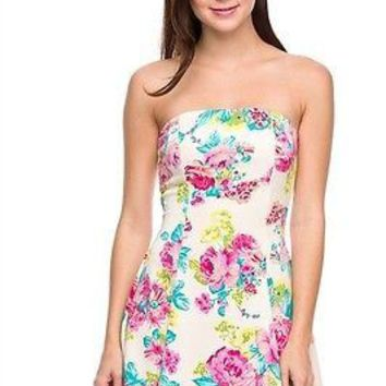 Sexy Strapless Floral Printed Flare A-Line Bustier Mini Peplum Summer Tube Dress